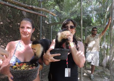 Brenda and Kim with the spider monkeys