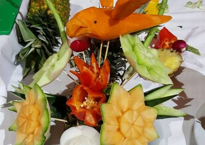 Flowers made from fruit - Norwegian Getaway Cruise