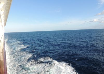 The waves from our balcony aboard the Norwegian Jade Cruise Ship